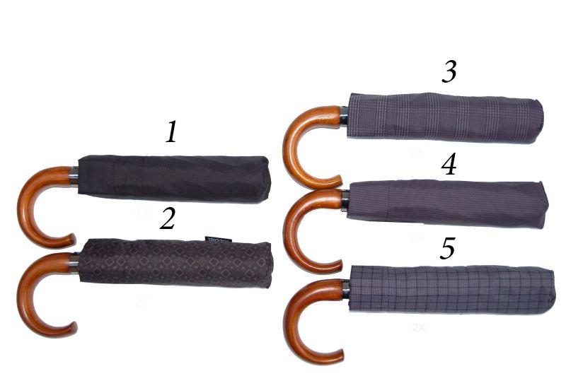 Pánský deštník Mini vystřelovací zahnutá dřevěná rukojeť DOPPLER