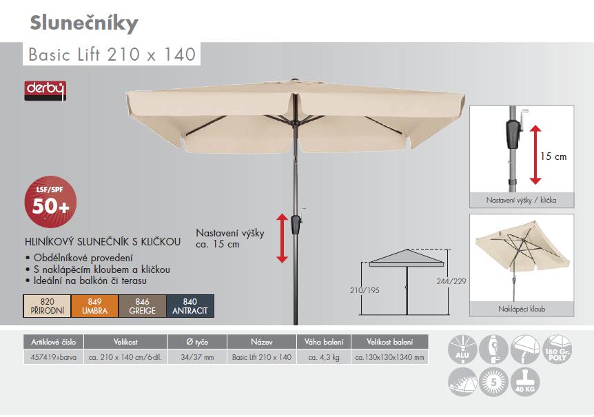 Slunečník Basic Lift 210x140 Doppler