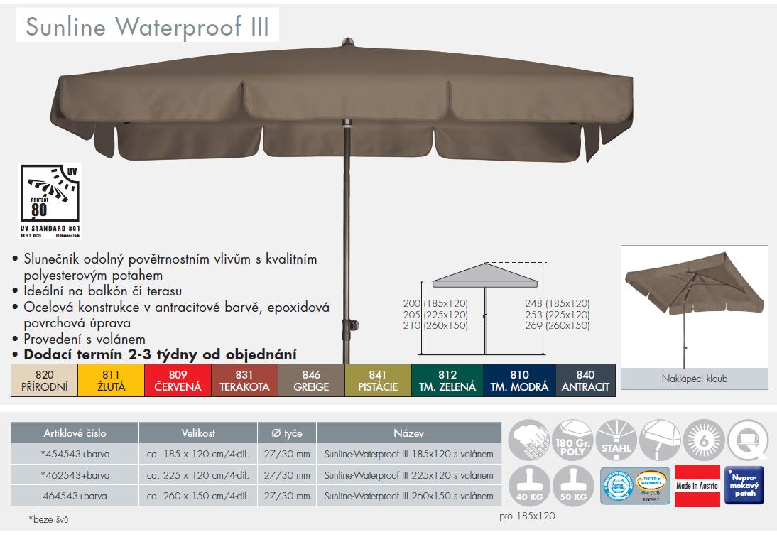 Slunečník Sunline-Waterproof III 225x120 Doppler